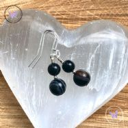 Black Sardonyx Silver Earrings